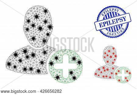 Mesh Polygonal Add User Symbols Illustration Designed Using Lockdown Style, And Rubber Blue Round Ep