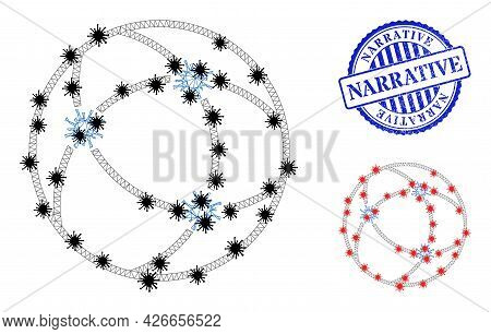 Mesh Polygonal Virus Network Icons Illustration In Lockdown Style, And Scratched Blue Round Narrativ