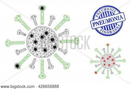 Mesh Polygonal Contagious Virus Icons Illustration In Lockdown Style, And Scratched Blue Round Pneum