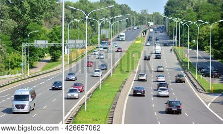 Warsaw, Poland. 13 July 2021. Cars On The Expressway, View From The Viaduct.