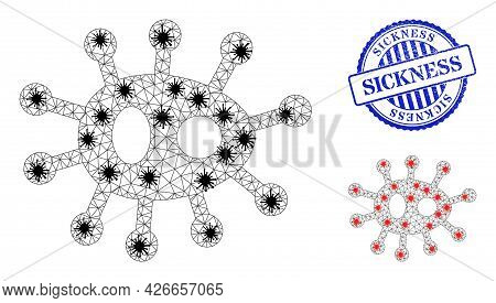 Mesh Polygonal Bacilla Symbols Illustration In Lockdown Style, And Rubber Blue Round Sickness Stamp