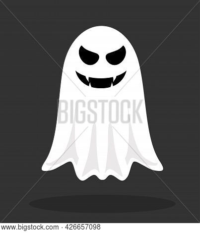 Halloween Ghost. Ghost Monster With Boo Scary Face Shape. Vector Of Cartoon Scary Ghost. Halloween,