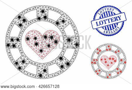 Mesh Polygonal Hearts Casino Chip Symbols Illustration In Lockdown Style, And Distress Blue Round Lo
