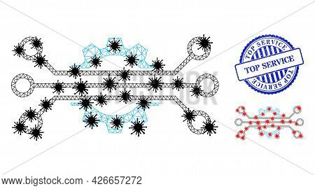 Mesh Polygonal Digital Industry Icons Illustration With Outbreak Style, And Scratched Blue Round Top