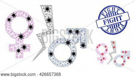 Mesh Polygonal Divorce Symbol Symbols Illustration With Infection Style, And Rubber Blue Round Fight