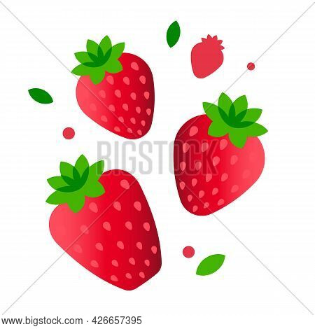Strawberry. Minimal Style Red Strawberry Composition. Abstract Geometric Fruits On White Background.