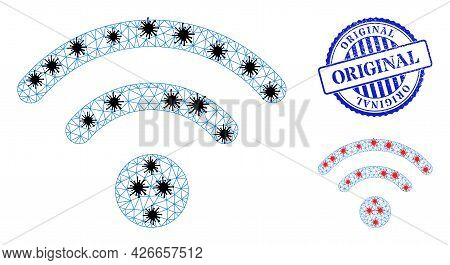 Mesh Polygonal Wi-fi Source Symbols Illustration With Infection Style, And Rubber Blue Round Origina