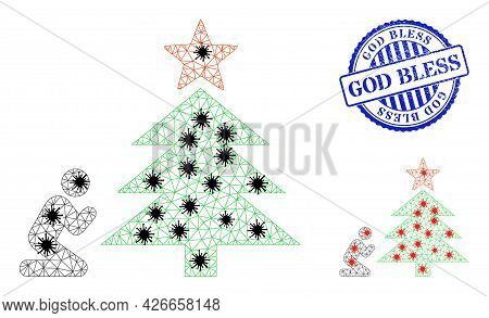 Mesh Polygonal Pray To Christmas Tree Icons Illustration Designed Using Infection Style, And Distres