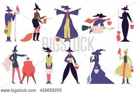 Witch Characters. Female Halloween Characters In Witch Spooky Costumes Isolated Vector Illustration