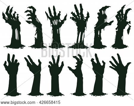 Zombie Hands Silhouette. Creepy Zombie Crooked Lambs Stick Out Of Graveyard Ground Vector Illustrati