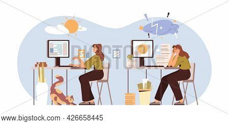 Professional Burnout Syndrome Vector Illustration. Happy And Exhausted Woman Office Worker Sitting A