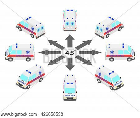 Rotation Of The Ambulance By 45 Degrees. Ambulance In Different Angles In Isometric.