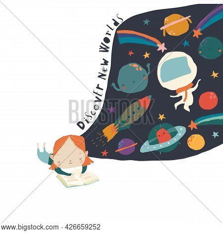 Cute Little Girl Reading Book And Dreaming About Space