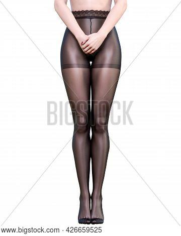 Long Slender Sexy Legs Woman Nylon Pantyhose.