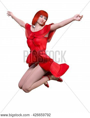 Beautiful Redhead Woman In Light Summer Waving Dress.