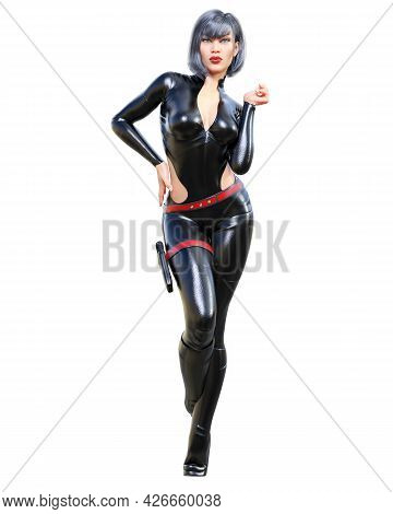 Tall Woman In Leather Black Bodysuit