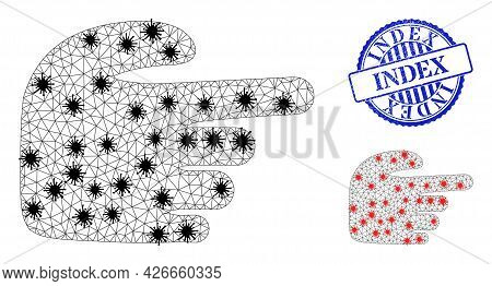 Mesh Polygonal Right Index Finger Icons Illustration With Outbreak Style, And Rubber Blue Round Inde