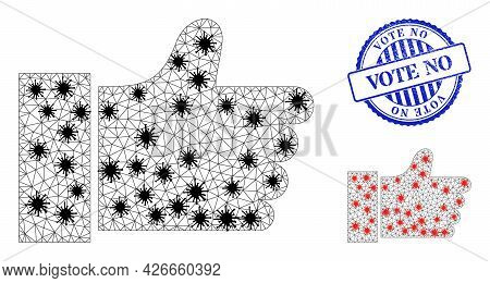 Mesh Polygonal Thumb Up Icons Illustration With Infection Style, And Rubber Blue Round Vote No Stamp