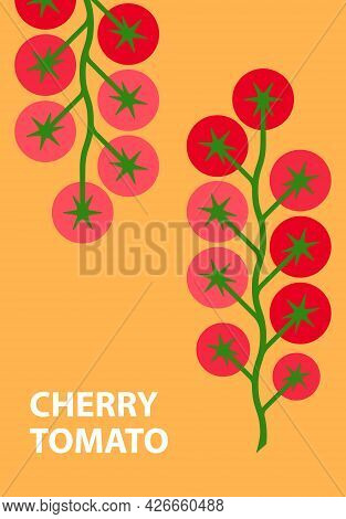Tomatoes Cherry. Minimal Style Red Tomato Poster. Abstract Geometric Vegetables On Yellow Background