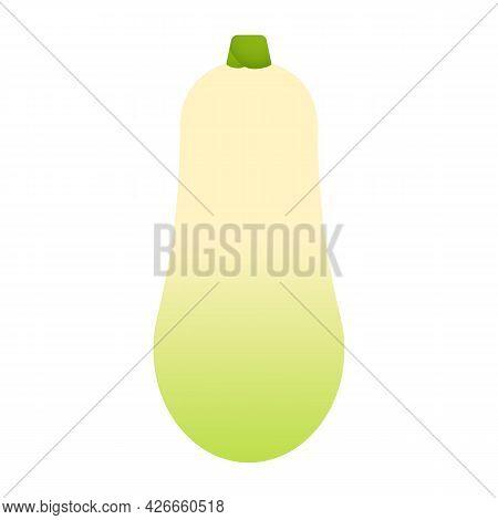Zucchini. Minimal Style Yellow Squash. Minimalistic Zucchini, Side View. Abstract Geometric Vegetabl