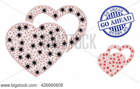 Mesh Polygonal Valentine Hearts Icons Illustration With Outbreak Style, And Distress Blue Round Go A