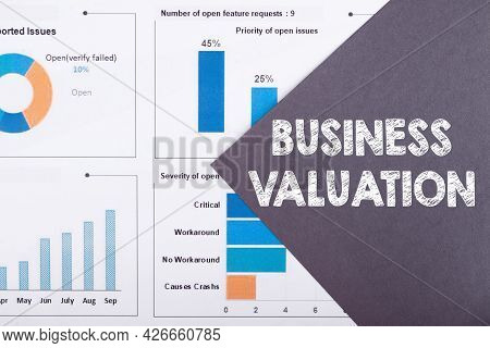 The Word Business Valuation Is Written On A Gray Background With Diagrams And Graphs.
