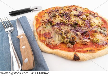 High Angle Wide Studio Shot Of Freshly Baked Pizza Al Tonno Isolated On White Background. Tuna, Oliv
