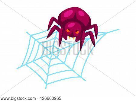 Cartoon Illustration Of Spider On Web. Happy Halloween Celebration.