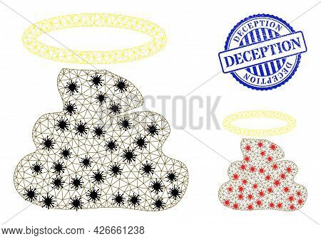 Mesh Polygonal Holy Shit Icons Illustration In Infection Style, And Textured Blue Round Deception Ba