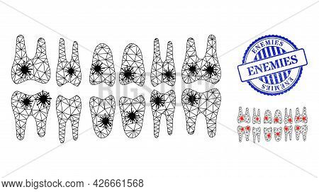 Mesh Polygonal Teeth Jaw Icons Illustration With Outbreak Style, And Textured Blue Round Enemies Sta