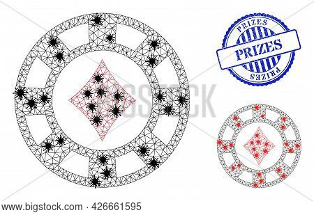 Mesh Polygonal Diamonds Casino Chip Symbols Illustration With Outbreak Style, And Rubber Blue Round