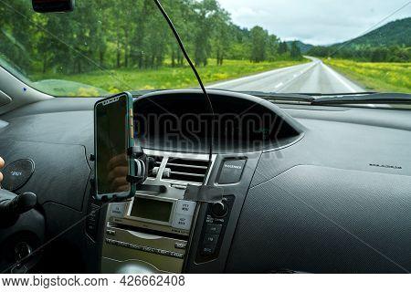 2021 June 24 - Russia, Siberia, Gorno-altaysk. Man Drive Car. Mountain Road View. Responsible Travel