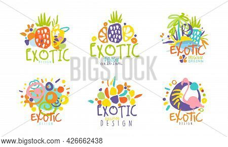 Exotic Logo Original Design Collection With Bright Shapes Vector Set