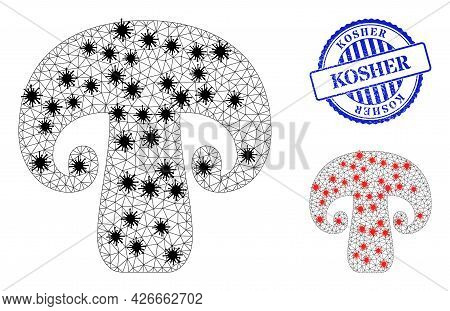Mesh Polygonal Champignon Mushroom Icons Illustration In Infection Style, And Textured Blue Round Ko