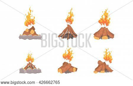 Campfire Or Bonfire With Pile Of Woods Or Lumber Blazing With Fire Sparks Vector Set