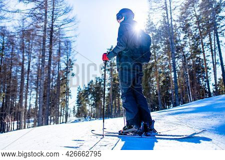 Young Sweden Man In Forest Ready To Drive On Ski