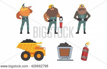 Coal And Ore Mining Industry With Bearded Man Miner And Rail Trolley Vector Set