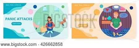 Panic Attack And Depression Landing Page Design, Website Banner Vector Template Set. Anxiety Disorde