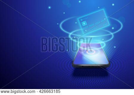Smartphone And Internet Banking Concept. Illustration Of Digital Money Or Online Wallet. Mobile Paym