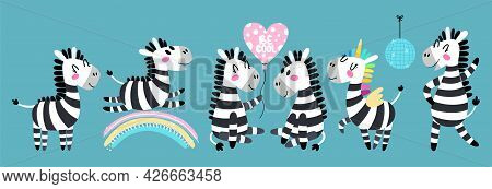 Set Of Cartoon Zebra. Funny Black And White Animal In Different Poses. Vector Illustration Of A Zebr