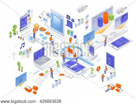 Data Management, Creating Website Content, Searching For Information, Vector Isometric Icon Set.