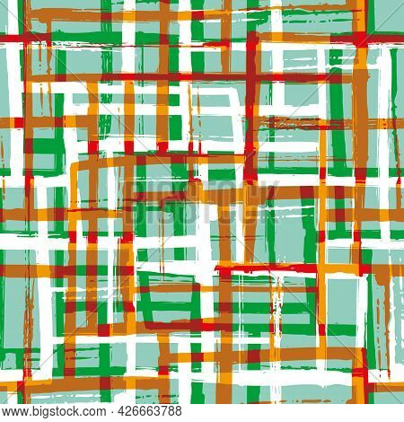 Abstract Painted Mid-century Modern Vector Seamless Pattern Background. Green Red Terracotta White G