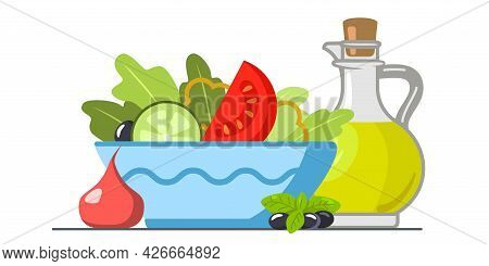 Vegetable Salad Served In Bowls Vector Illustration Green Salad With Tomato And Fresh Vegetables And