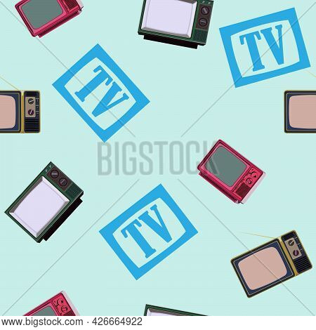 Seamless Pattern With The Image Of Old Tvs And The Tv Symbol For Prints On Fabrics And Clothes, As W