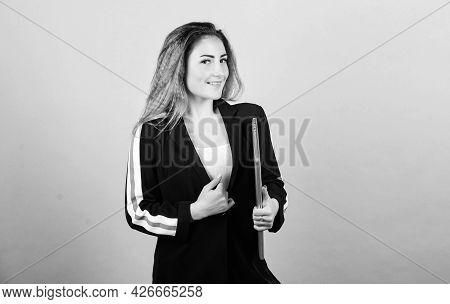 Regular Pc User. Information Source. Blogging Concept. Girl With Laptop Computer. Digital Technology