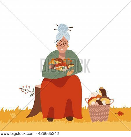 Mushrooms Picking Or Hunting Concept . Old Woman Finding Fungus In The Forest. Active Seniors. Elder