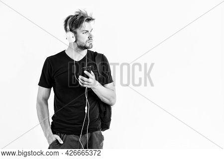 Music Gadget. Musical Accessory Gadgets. Man Listen Music Online Headphones And Smartphone. Modern T