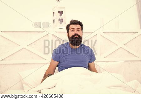 Male Body Health. Early Wake Up At Morning. Bachelor Feel Sleepy. Guy At Bedroom. Lazy Sunday. Bed T