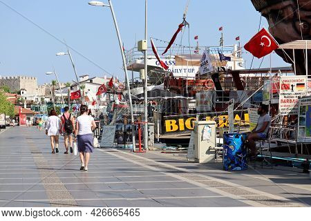 Marmaris, Turkey - July 2021: Tourists Boats In A Town Port On Aegean Sea. Summer Excursions In Turk