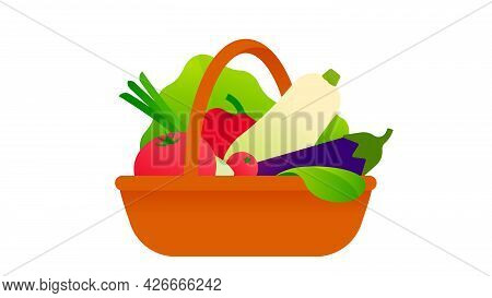 Fresh Vegetables In Wicker Basket. Straw Basket With Harvest From The Garden. Plastic Free Concept.